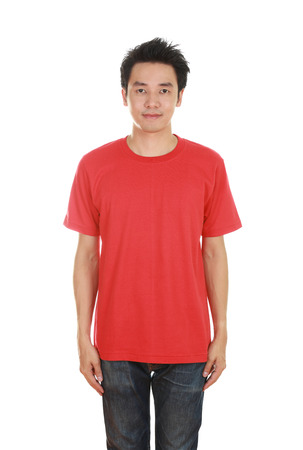 man with blank red t-shirt isolated on white background photo