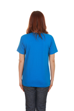 female with blank blue t-shirt (back side) isolated on white background photo