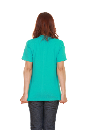 female with blank green t-shirt (back side) isolated on white background photo