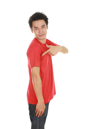 red tshirt: man with red t-shirt (side view) isolated on white background