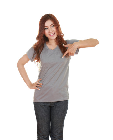 young beautiful female with blank gray t-shirt isolated on white background photo