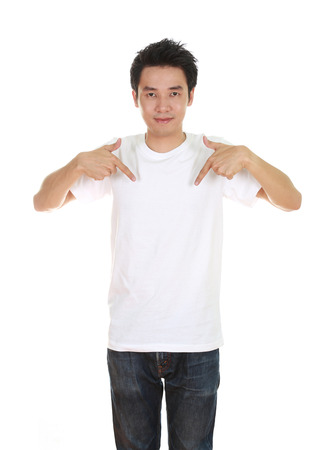 man with blank t-shirt isolated on white background photo