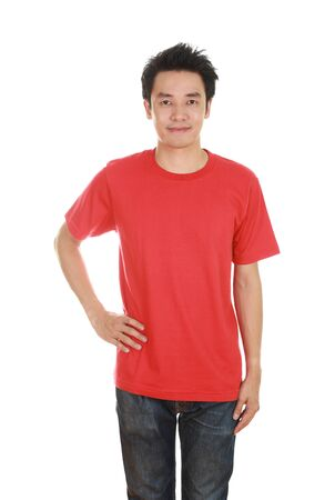 red tshirt: man with blank red t-shirt isolated on white background