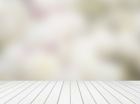 white wood terrace with abstract blur background Archivio Fotografico