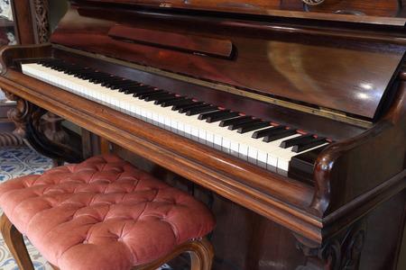 piano keys and wood grain of classic piano Archivio Fotografico