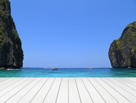 white wood terrace with Maya bay, Phi Phi Leh island,Thailand