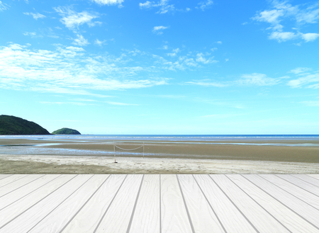 White Wood Terrace With Beach And Sea Photo