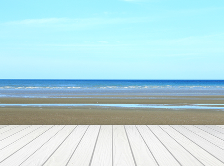 Attractive Stock Photo   White Wood Terrace With Beach And Sea