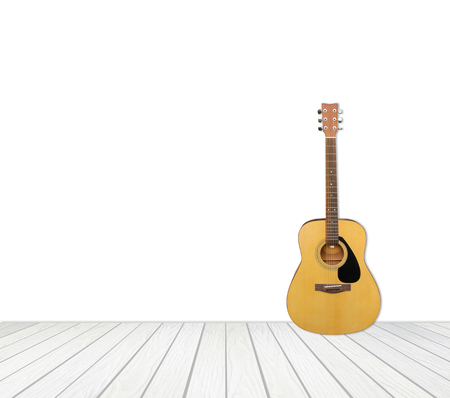 white wood floor: guitar with white wood floor isolated on white background