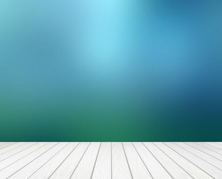 fondo verde abstracto: terraza de madera blanca con el resumen de desenfoque de fondo Foto de archivo