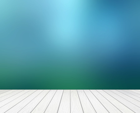 white wood terrace with abstract blur background Stockfoto