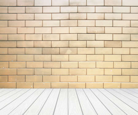 white wood floor: room interior with brick wall and white wood floor background Stock Photo