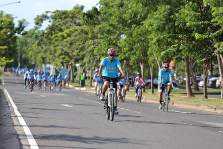 NAKHON RATCHASIMA ,THAILAND - AUG 16-2015: This event is Bike for mom from Thailand, event show respected to Queen of Thailand by the participant cycling (worlds biggest bike ride)