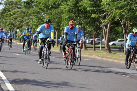 participant: NAKHON RATCHASIMA ,THAILAND - AUG 16-2015: This event is Bike for mom from Thailand, event show respected to Queen of Thailand by the participant cycling (worlds biggest bike ride)