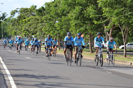 biggest: NAKHON RATCHASIMA ,THAILAND - AUG 16-2015: This event is Bike for mom from Thailand, event show respected to Queen of Thailand by the participant cycling (worlds biggest bike ride)