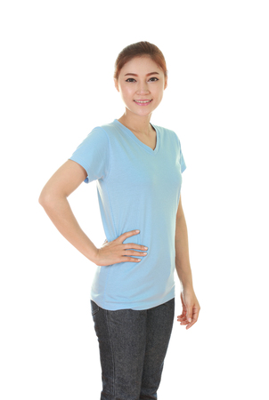 japanese people: young beautiful female with blue t-shirt (side view) isolated on white background Stock Photo