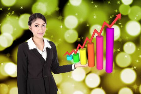 population growth: Business woman with business graph on background Stock Photo