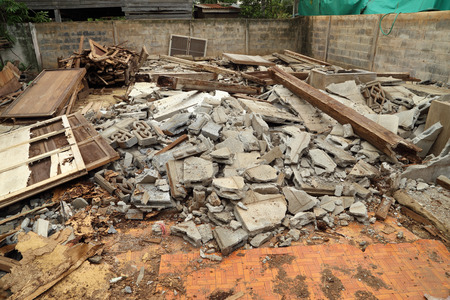 demolished: Pile of rubble of a demolished building