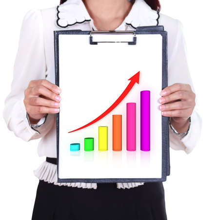 business woman: business woman holding a clipboard with business graph chart