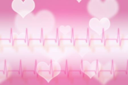 cardiograph: abstract pulse with magic heart background Stock Photo