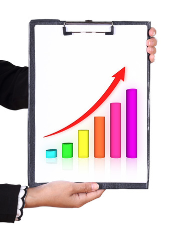 increasing: business hand holding a clipboard with business graph chart