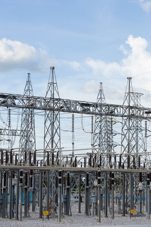 switchgear: High voltage electric power substation with sky background