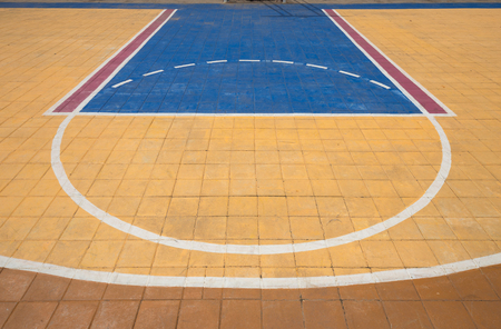 outdoor basketball court: Free throw lines of the public outdoor basketball court