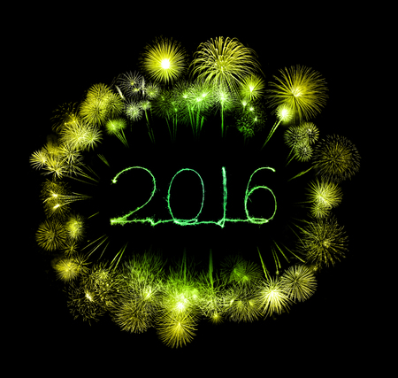 0 1 year: Happy new year 2016 written with beautiful Sparkle firework