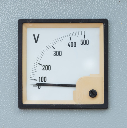 board panel: volt meter display on electric control panel Stock Photo