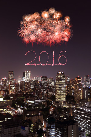 fireworks: 2016 New Year Fireworks celebrating over Tokyo cityscape at night, Japan