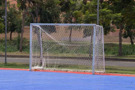 futsal: Goal post in public futsal court Stock Photo
