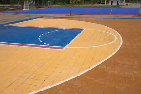 basketball court: Free throw lines of the public outdoor basketball court