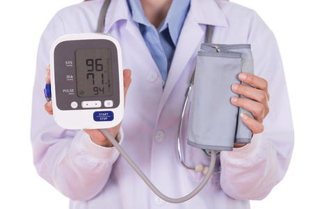 close-up hearth beat monitor and blood pressure with female doctor isolated on white background
