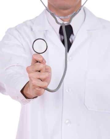 stethoscope: doctor with stethoscope isolated on white background