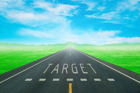 goal: empty road through the green field with sign target on asphalt