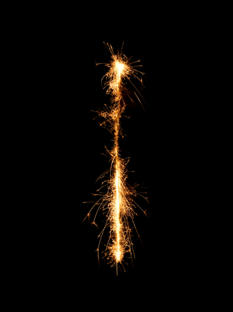 Sparkler firework light alphabet I (Capital Letters) at night background