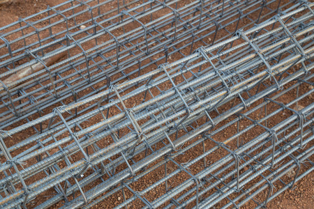 cement pole: steel rod for poles construction at construction site Stock Photo