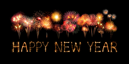 Happy New Year made of sparkles firework at night background Archivio Fotografico
