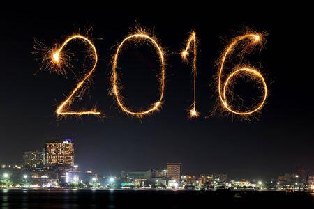 firework: 2016 Happy New Year Fireworks celebrating over Pattaya beach at night, Thailand