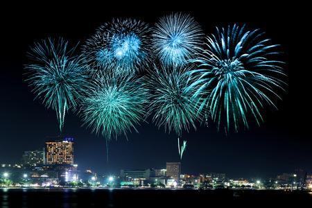 firework display: Pattaya International Fireworks Festival at Chonburi, Thailand