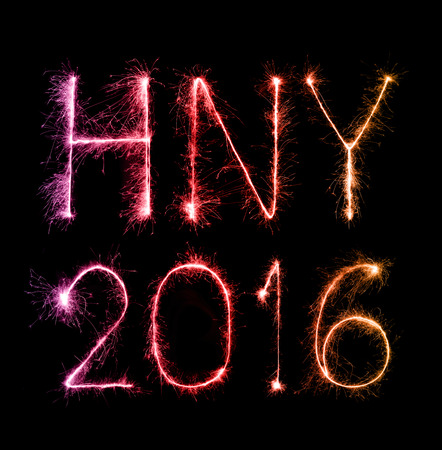0 1 year: 2016 Happy New Year made of sparkles firework at night background