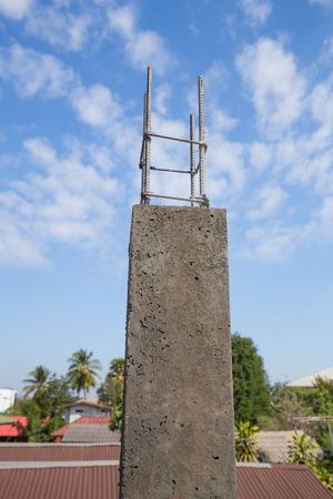 cement pole: Concrete pillar construction at the construction site