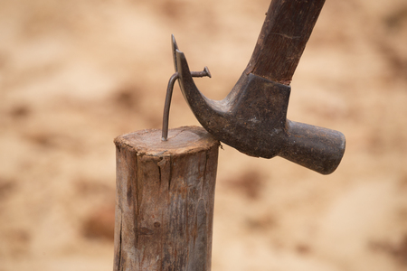 hammer and nails: hammer pulling a nail out of wood at construction site Stock Photo
