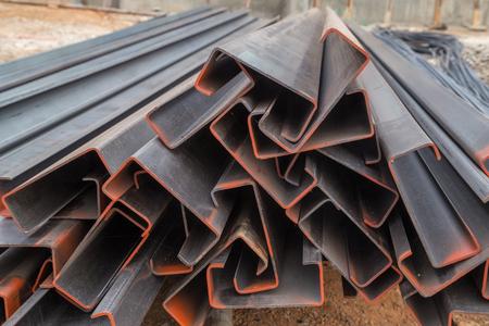 Steel channel (steel C chanel) at construction site Reklamní fotografie
