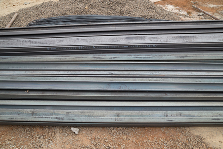 heavy joist: Steel channel (steel C chanel) at construction site Stock Photo