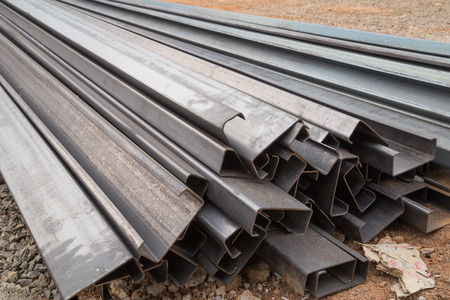 Steel channel (steel C chanel) at construction site Stock Photo