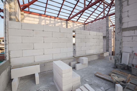 white Lightweight Concrete block, Foamed concrete block, raw material for industrial wall or house wall Archivio Fotografico