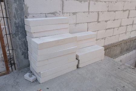 lightweight: stack of white Lightweight Concrete block, Foamed concrete block, raw material for industrial wall or house wall