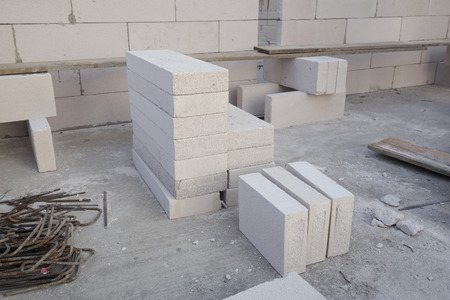 foamed: stack of white Lightweight Concrete block, Foamed concrete block, raw material for industrial wall or house wall
