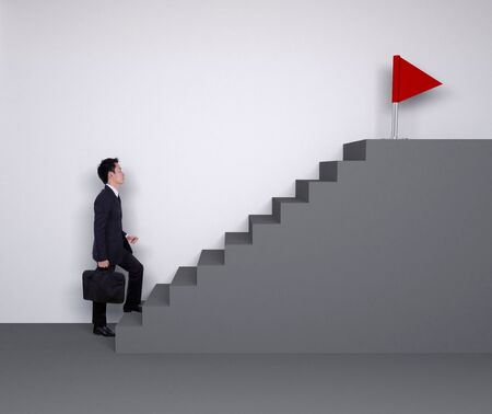 stepping: Business man stepping up on stairs to red flag (business success concept)